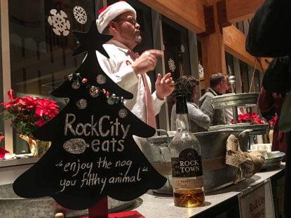 Rock City Eats serving egg nog at the Little Rock Nog-Off